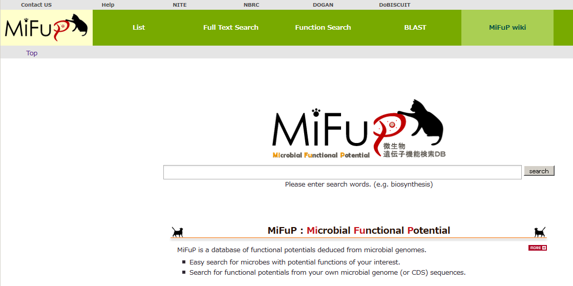 MiFuP front page click the image to enlarge