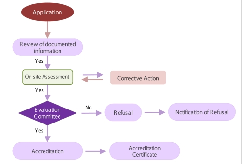 Outline of the process from application to accreditation (typical steps)